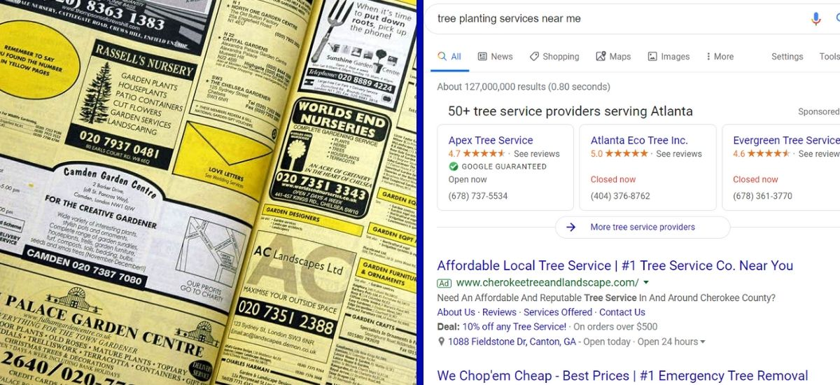 Picture of Yellow Book vs Google Search Results
